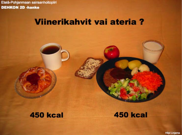 Tältä saattaa näyttää monen lounas. Sama määrä energiaa, mutta kumpi pitää pidempään nälkää?
