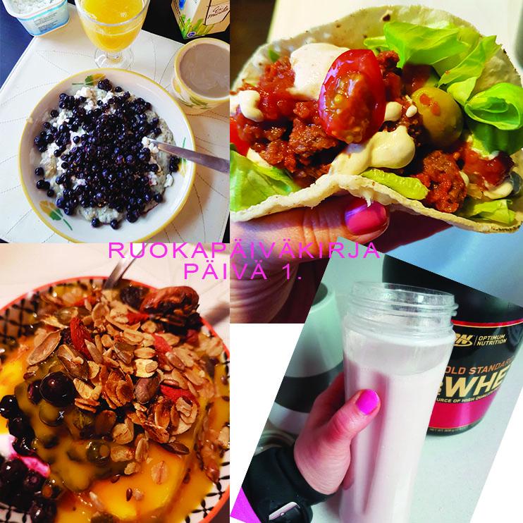 Minun ruokapäiväkirja - 3 päivää