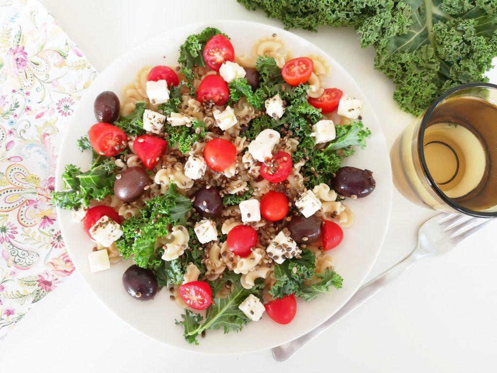 Kreikkalainen pastalautanen, lounasvinkki (kasvis)