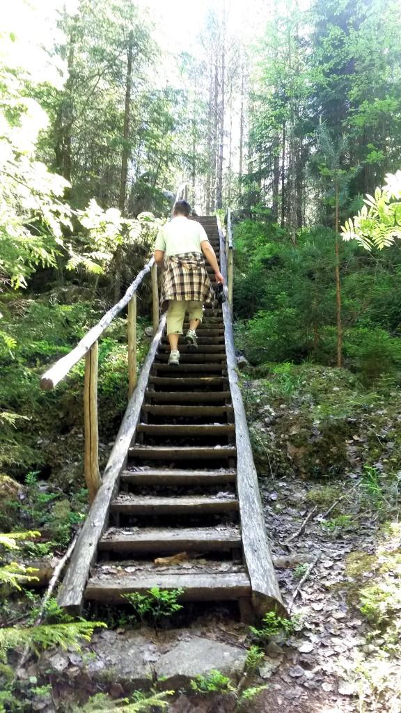 Jyrkimpiin nousuihin oli rakennettu portaat.