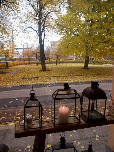 toimiston ikkunasta on ihana näkymä puistoon