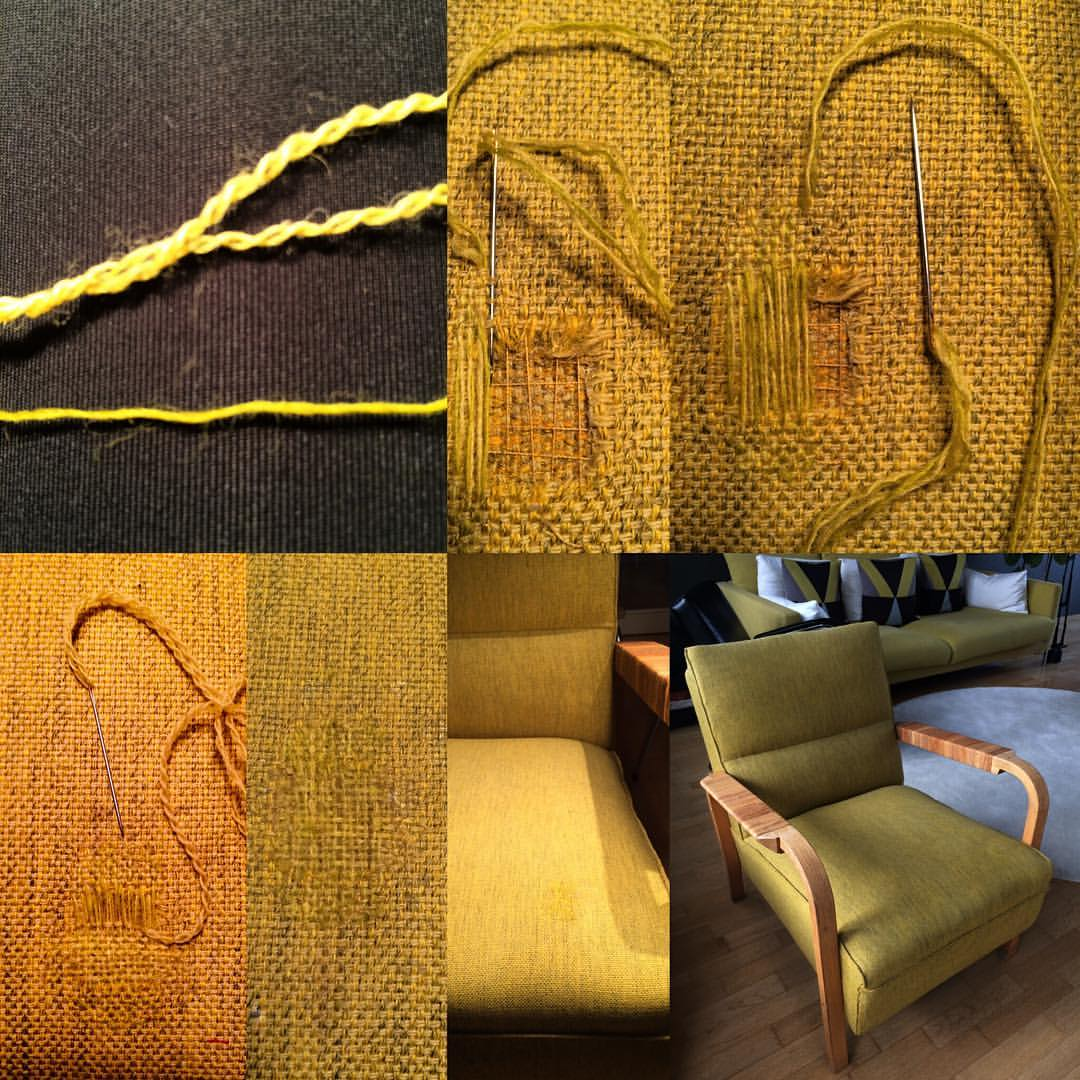Alvar Aallon suunnittelman tuolin kangas on korjattu
