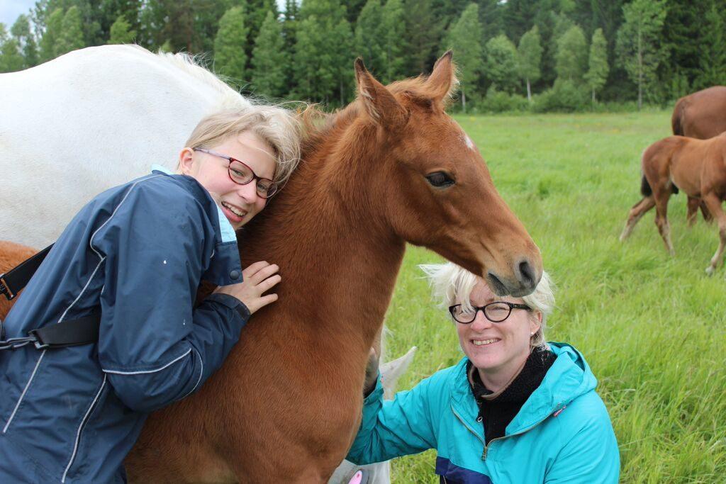 Järki-ihmiset uuden hevosensa äärellä.