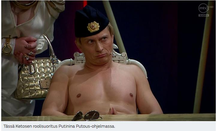 Näyttelijä Kari Ketonen nauratti Putinina liki miljoonaa suomalaista suorassa Putous-lähetyksessä.