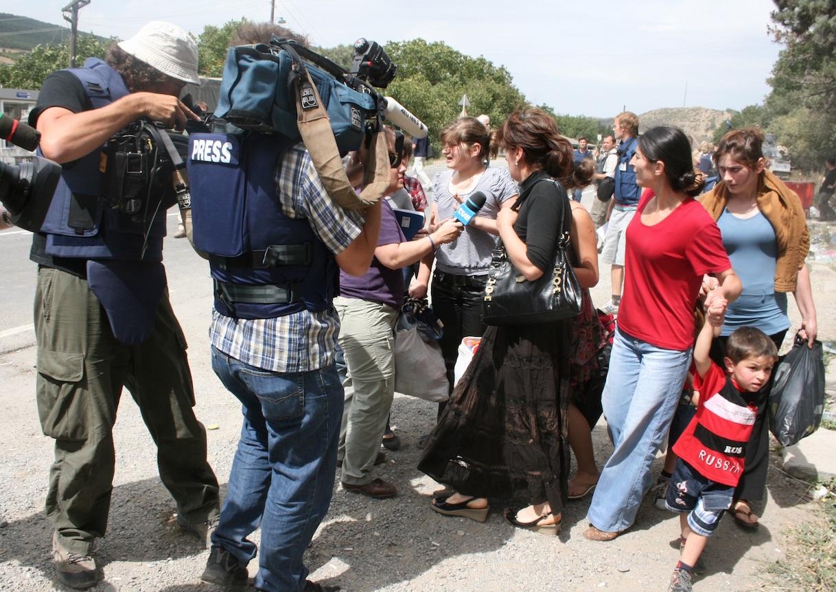 Pakolaisia Etelä-Ossetiasta vuonna 2008.