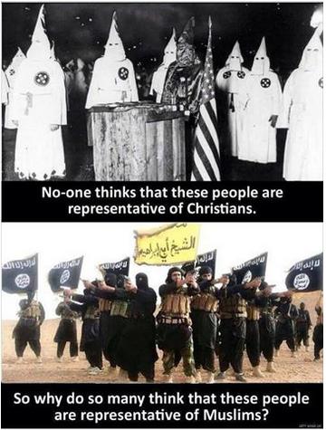 Kun kaikki tietävät, ettei Ku Klux Klan edusta kristinuskoa, miksi niin moni ajattelee näiden ihmisten edustavan muslimeja. (Kuvakaappaus Facebookista)