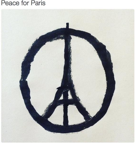 @jean_jullien terrori-iskun symboliksi sosiaalisessa mediassa nopeasti noussut kuva. (Kuvakaappaus Twitteristä)