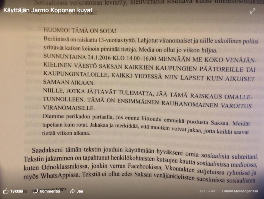 Lisan tarina on kasvattanut äärioikeistolaisen AfD-puolueen kannatusta. (Venäjän televisio kertoi 13-vuotiaan venäläissyntyisen tytön raiskaamisesta.) Kuva Nikolai Mitrohinin artikkelista Idäntutkimus-lehdessä.