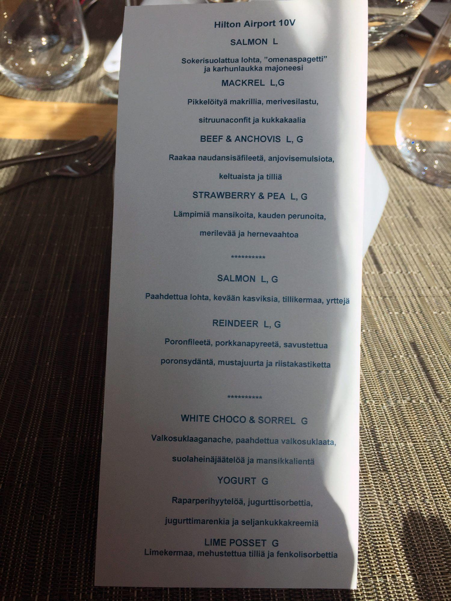 hilton menu