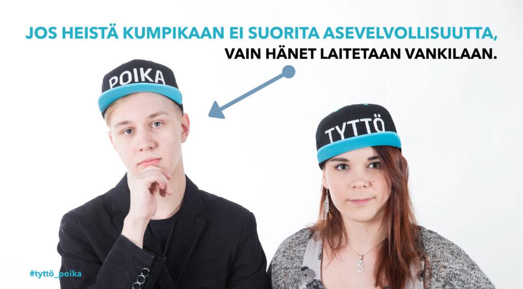 """Perussuomalaisten Nuorten kannanotto #tyttö_poika -sukupuolikampanjan päätöspäivänä: """"Tyttö ja poika ovat Suomessa tasa-arvoisia, paitsi lain edessä!"""" Lähde ja kuva: Perussuomalaiset nuoret."""