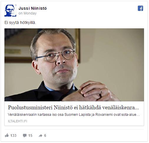 Puolustusministeri Jussi Niinistön Facebook-päivitys 16.1.2017. Lähde: Facebook.