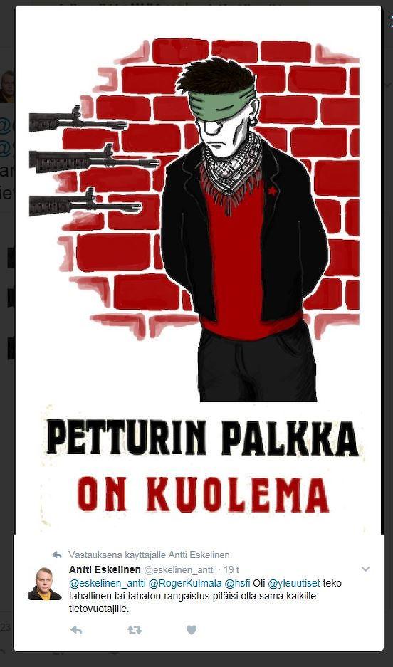 Antti Eskelinen (@eskelinen_antti) Twitterissä. Lähde: Kouvolan sanomat.
