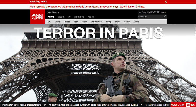 CNN uutisten avaussivu Pariisin terrori-iskujen jälkeen. Lähde: CNN.