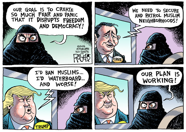 """Fear and Panic"", cartoon by Rob Rogers, , March 25, 2016. © Rob Rogers. Used with express permission of the author."