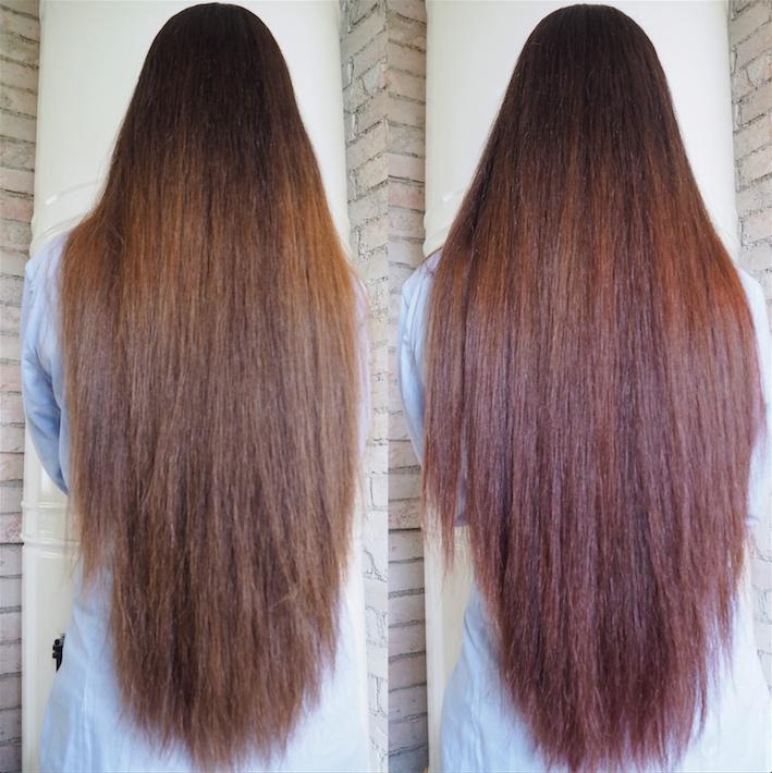 hiukset ennen ja jälkeen