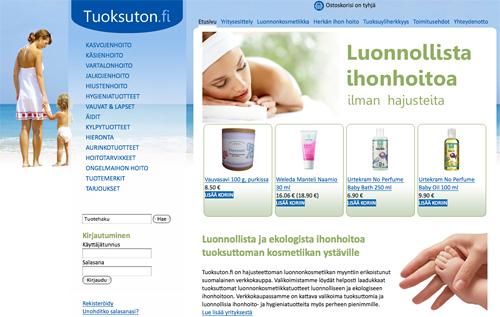 Tuoksuton.fi - luonnonkosmetiikkaa tuoksuherkille