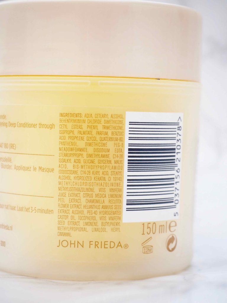 John Frieda Sheer Blond Lightening Deep Conditioner.